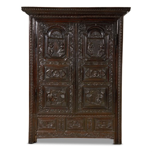 Lot 92 - A BRETON CARVED OAK MARRIAGE ARMOIRE