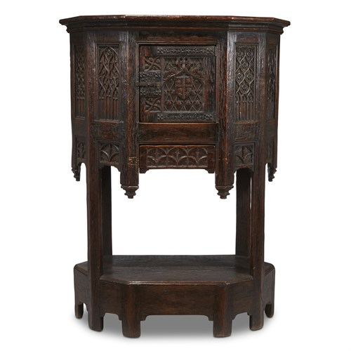 Lot 77 - A LATE GOTHIC CARVED OAK COURT CUPBOARD