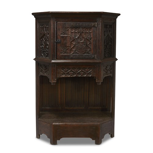 Lot 76 - A LATE GOTHIC CARVED OAK COURT CUPBOARD