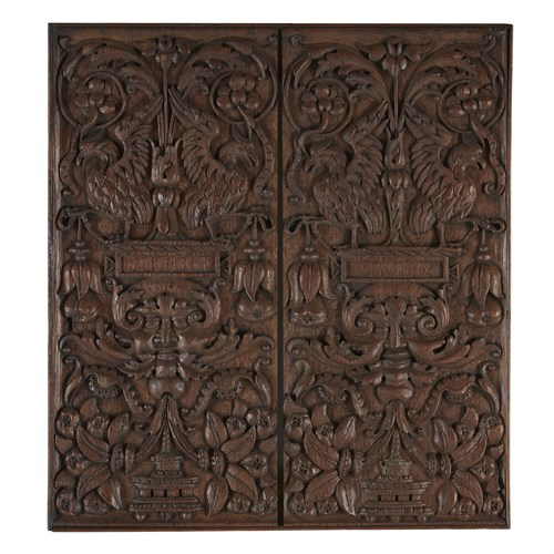 Lot 70 - TWO CONTINENTAL CARVED OAK DOOR PANELS