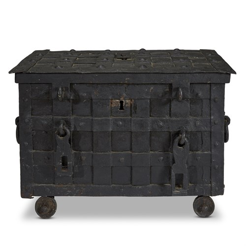 Lot 67 - A GERMAN WROUGHT IRON STRONG BOX