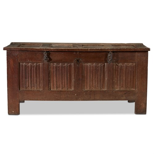 Lot 84 - A FRENCH OR SOUTH NETHERLANDISH IRON-MOUNTED OAK CHEST