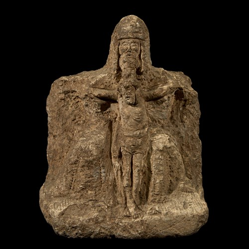 Lot 88 - A FRENCH GOTHIC CARVED SANDSTONE SCULPTURE OF CHRIST IN THE ARMS OF THE FATHER