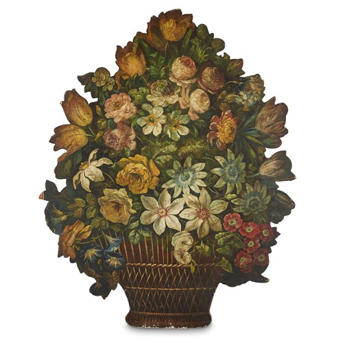 Lot 50 - AN ENGLISH PAINTED WOOD FIRESCREEN IN THE FORM OF A FLOWER BASKET