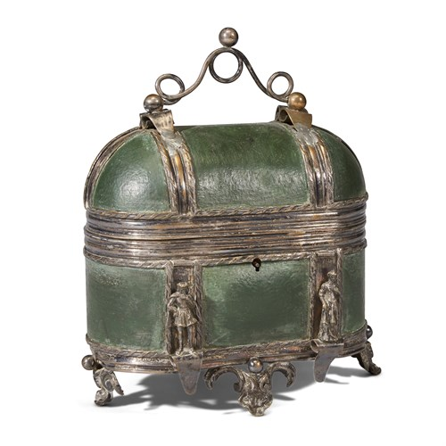 Lot 65 - A FRENCH OR GERMAN SILVERED COPPER AND BRONZE MOUNTED GREEN LEATHER CASKET