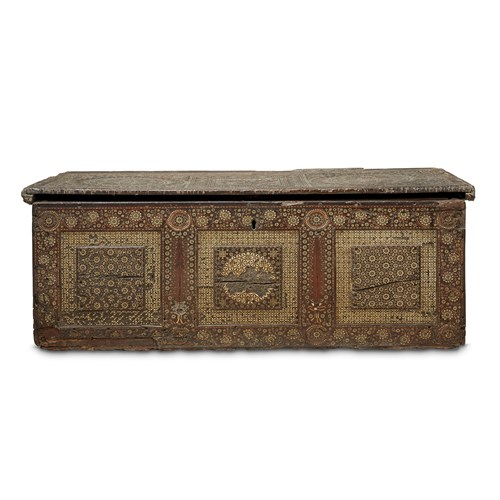 Lot 149 - A NASRID-STYLE EARLY MARQUETRY AND BONE INLAID WALNUT CASSONE