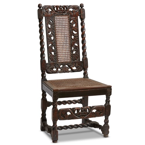 Lot 48 - A WILLIAM & MARY CARVED WALNUT CANED SIDE CHAIR