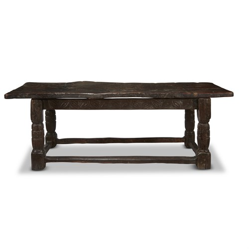 Lot 8 - A TUDOR CARVED OAK REFECTORY TABLE WITH PLANK TOP