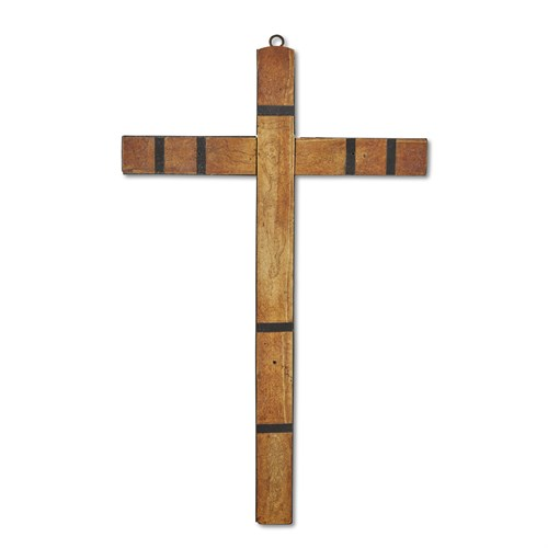Lot 83 - A NORTHERN EUROPEAN ENGRAVED IVORY AND EBONY CRUCIFIX