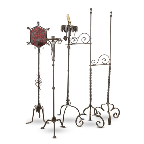 Lot 69 - A GROUP OF FIVE WROUGHT IRON FLOOR LAMPS AND CANDLESTANDS