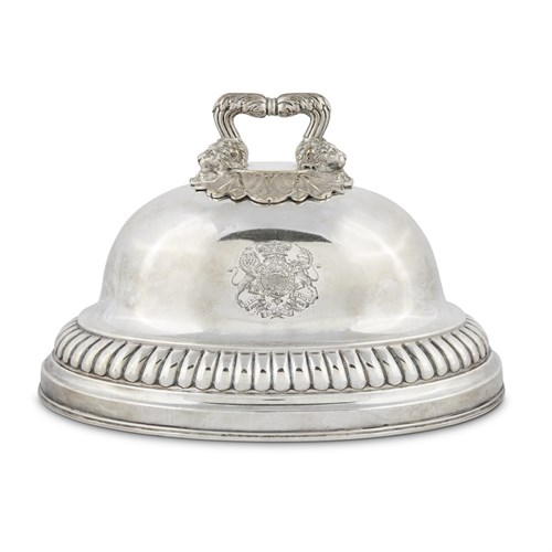 Lot 61 - AN ENGLISH GILT AND SILVER-PLATED DISH COVER