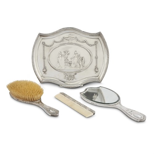 Lot 56 - A GEORGE V STERLING SILVER FOUR PIECE DRESSING SET