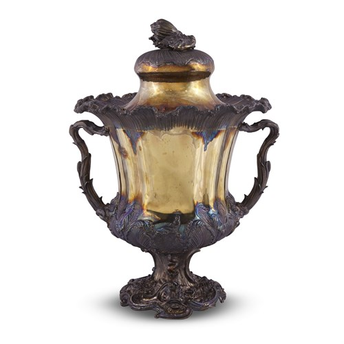 Lot 55 - A VICTORIAN SILVER-GILT COVERED PRESENTATION CUP