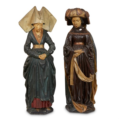 Lot 82 - TWO POLYCHROME PLASTER MOURNERS FROM THE TOMB OF ISABELLA OF BOURBON