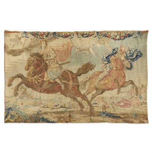 Lot 52 - A MORTLAKE TAPESTRY FROM 'THE HORSES' DEPICTING THE DESTRUCTION OF THE CHILDREN OF NIOBE