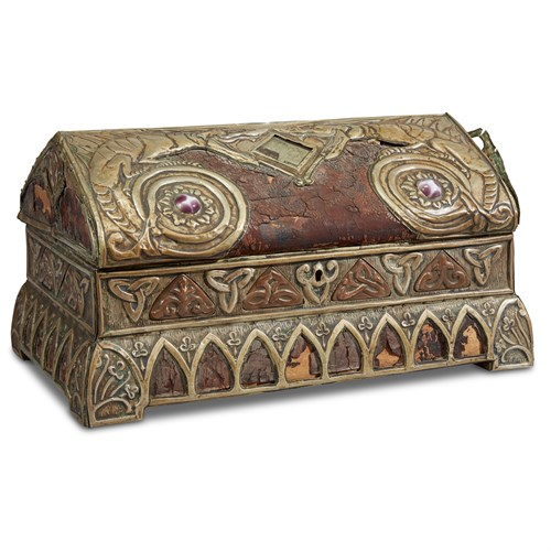 Lot 66 - AN ARTS AND CRAFTS METAL, GLASS AND LEATHER-MOUNTED CASKET IN THE VIKING REVIVAL STYLE