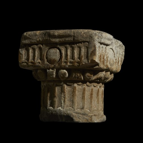 Lot 86 - A COLLECTION OF SIX CONTINENTAL MARBLE AND SANDSTONE COLUMN CAPITALS