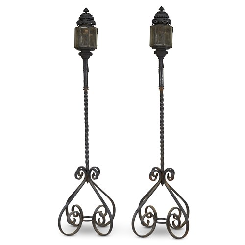 Lot 93 - A PAIR OF LARGE WROUGHT IRON LANTERNS