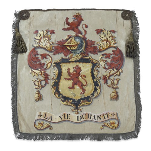 Lot 11 - AN ENGLISH ARMORIAL PENNANT WITH THE COAT OF ARMS OF THE CORNELL FAMILY OF CORNWALL