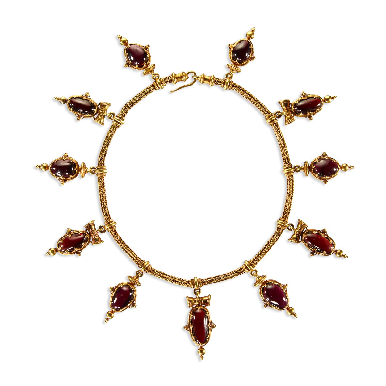 Lot 1 - An Etruscan Revival gold and garnet necklace, Pierret