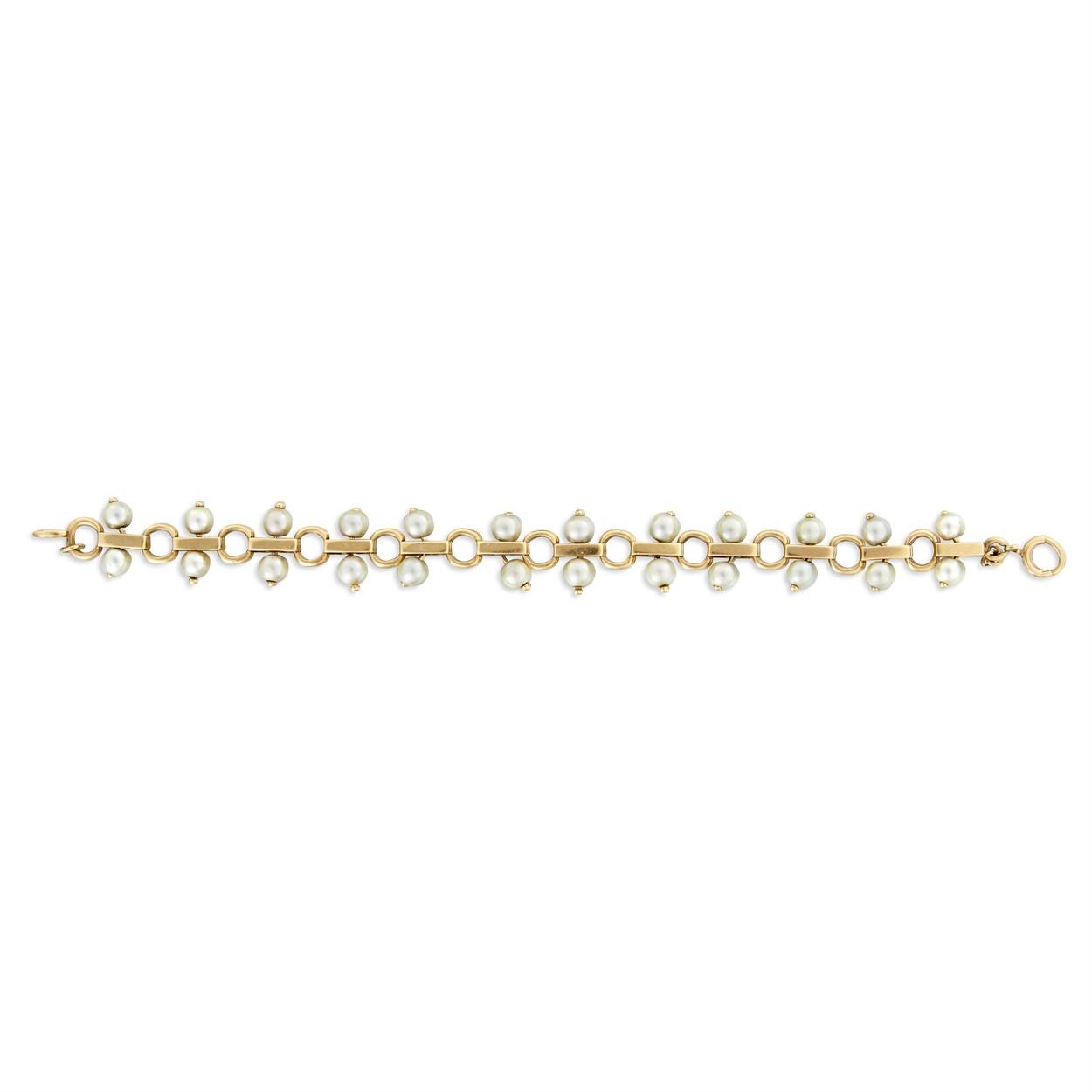 Lot 7 - A fourteen karat gold and cultured pearl bracelet, Tiffany & Co.