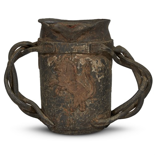 Lot 7 - AN EARLY ENGLISH TWO-HANDLED LEATHER FIRE BUCKET