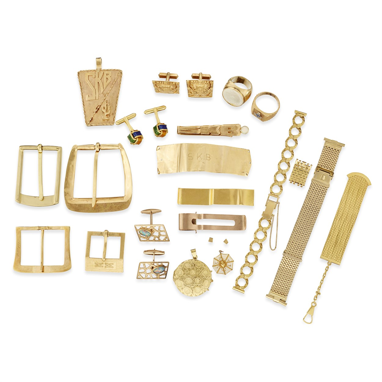 Lot 88 - A group of fourteen karat, eighteen karat, low karat, and gold filled items
