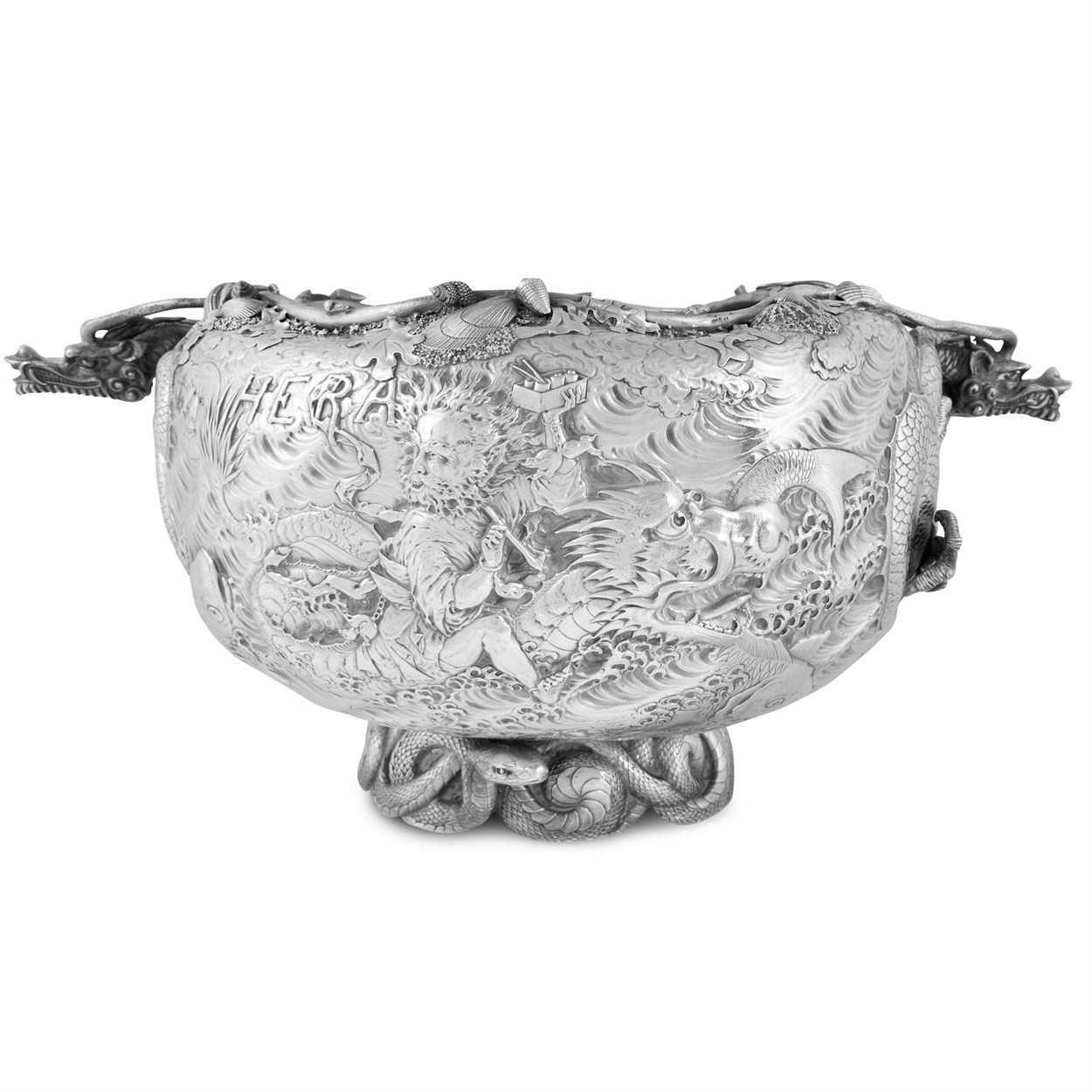 Lot 10 - Impressive silver presentation punch bowl in the Japanese manner