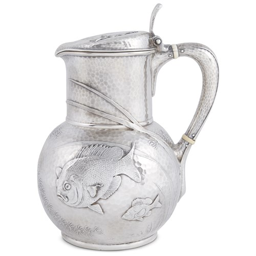 Lot 14 - Hammered sterling silver Japanese-style covered water pitcher