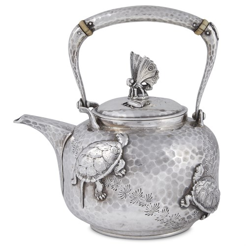 Lot 13 - Small hammered sterling silver Japanese-style teapot