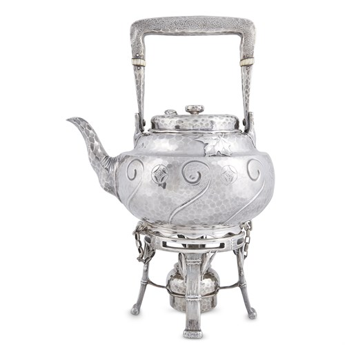 Lot 20 - Hammered sterling silver Japanese-style hot water kettle-on-stand