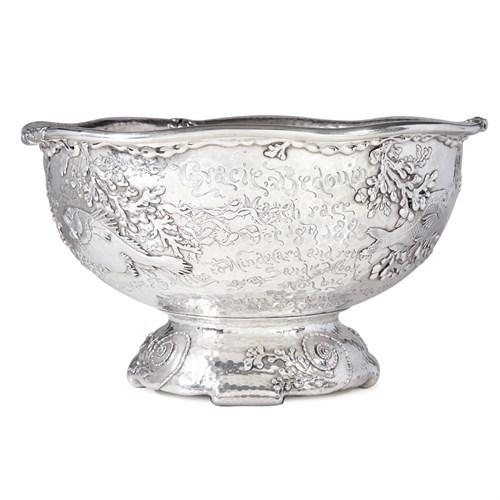 Lot 15 - Large hammered sterling silver and parcel-gilt presentation punch bowl