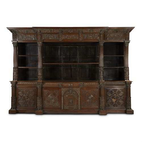 Lot 41 - A LARGE WILLIAM & MARY CARVED OAK BOOKCASE