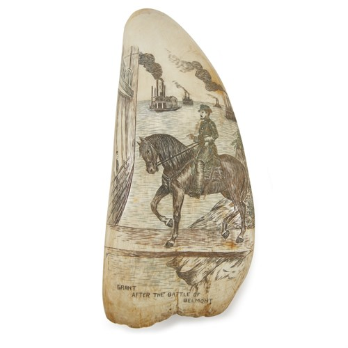 Lot 71 - Two polychrome scrimshaw whale's teeth