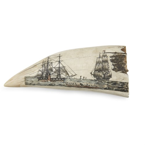 Lot 69 - Large polychrome scrimshaw whale's tooth