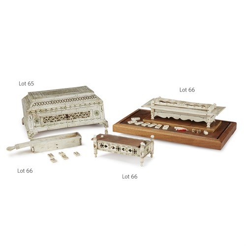 Lot 65 - Carved and polychromed bone jewelry box
