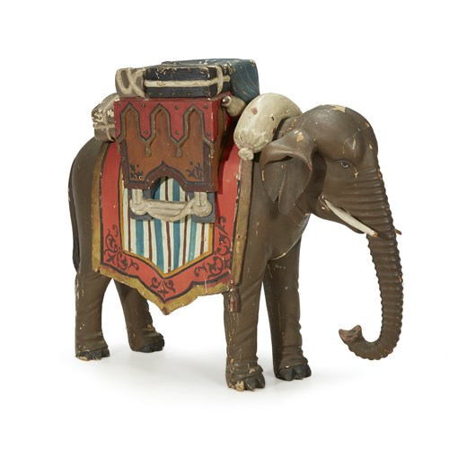 Lot 86 - Carved and painted elephant trade sign