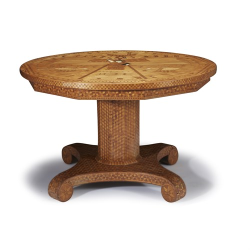Lot 83 - Patriotic marquetry center table