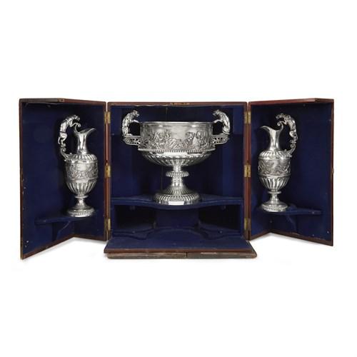 Lot 40 - A monumental cased Victorian sterling silver three-piece presentation garniture