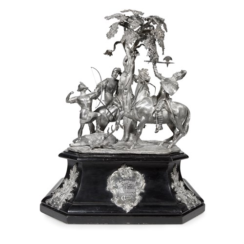 Lot 39 - A Victorian sterling silver figural equestrian trophy, 'Liverpool Autumn Cup'