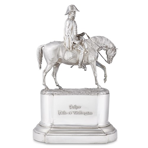 Lot 36 - A rare Victorian sterling silver equestrian sculpture of the Duke of Wellington