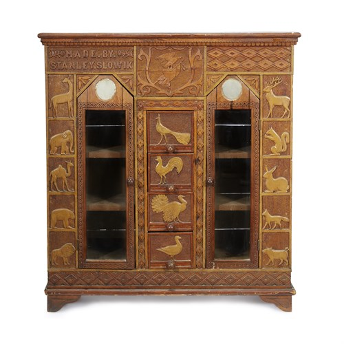 Lot 88 - Carved, punch and paint-decorated bookcase/cabinet