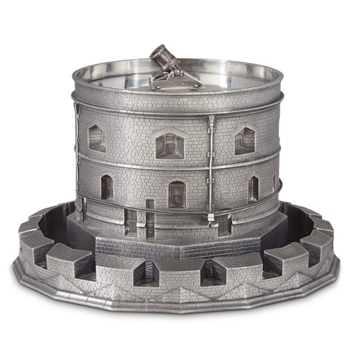 Lot 41 - An unusual Victorian sterling silver cooler in the form of a castle keep