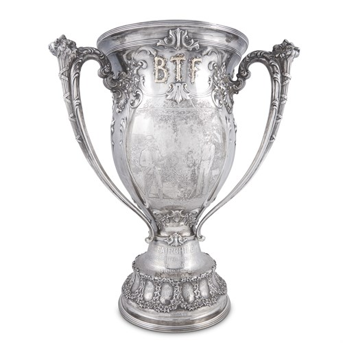 Lot 3 - Large sterling silver and parcel gilt fishing trophy