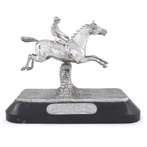 Lot 42 - A Victorian silver and silver-plated figural equestrian trophy, 'Essex County Hunt Races'