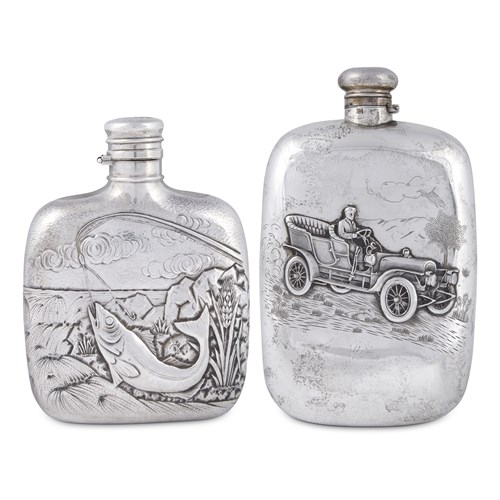 Lot 2 - Two sterling silver flasks