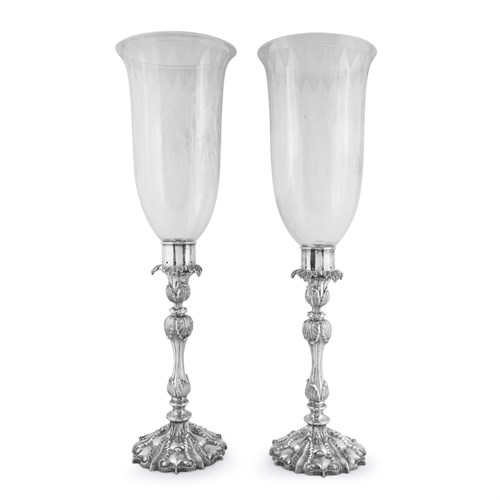 Lot 48 - A pair of Chinese silver candlesticks with etched glass hurricane shades