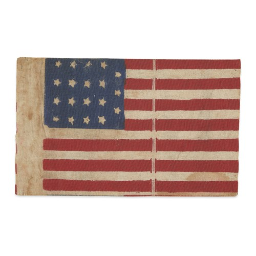 Lot 14 - A rare 19-Star American parade Flag commemorating Indiana statehood