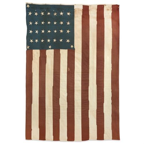 Lot 31 - A 28-Star American Flag commemorating Texas statehood adapted to a 32-Star American Flag commemorating Minnesota statehood