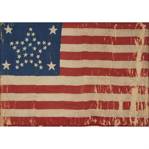 Lot 46 - A 34-Star American parade Flag commemorating Kansas statehood
